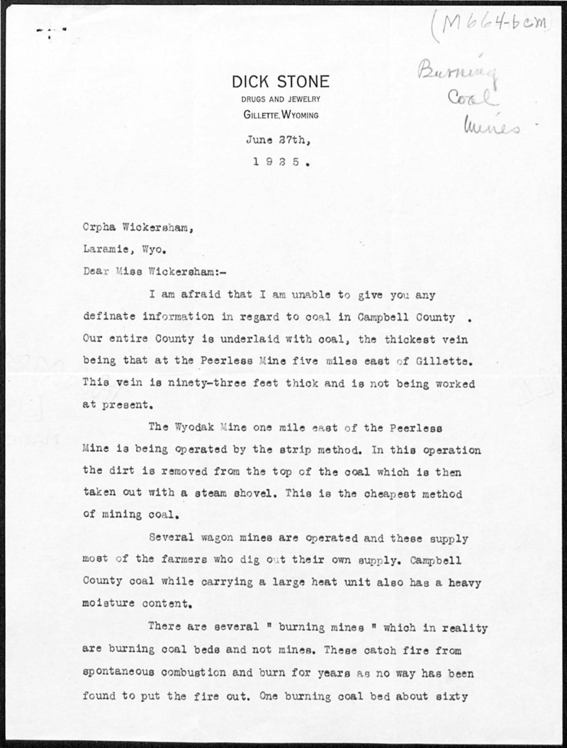 First page of a letter written by Dick Stone of Gillette to Orpha Wickersham of Laramie about coal in Campbell County, June 27, 1925. Box 13, Grace Raymond Hebard papers.