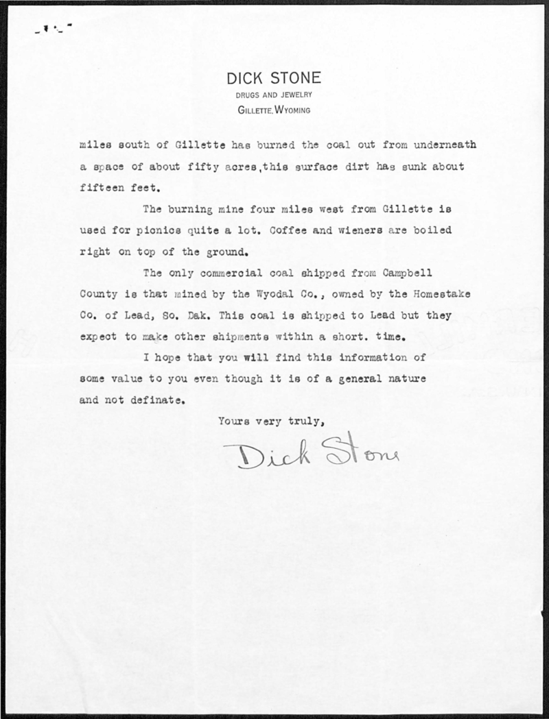 Second page of a letter written by Dick Stone of Gillette to Orpha Wickersham of Laramie about coal in Campbell County, June 27, 1925. Box 13, Grace Raymond Hebard papers.