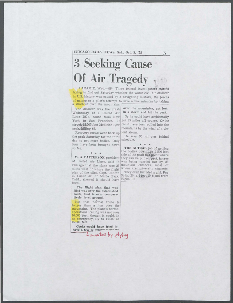 Newspaper article about the crash of United Airlines Flight 409 and the efforts to recover bodies from the mountainside, published in the Chicago Daily News, October 8, 1955. Box 1, United Air Lines Flight 409 Crash collection.