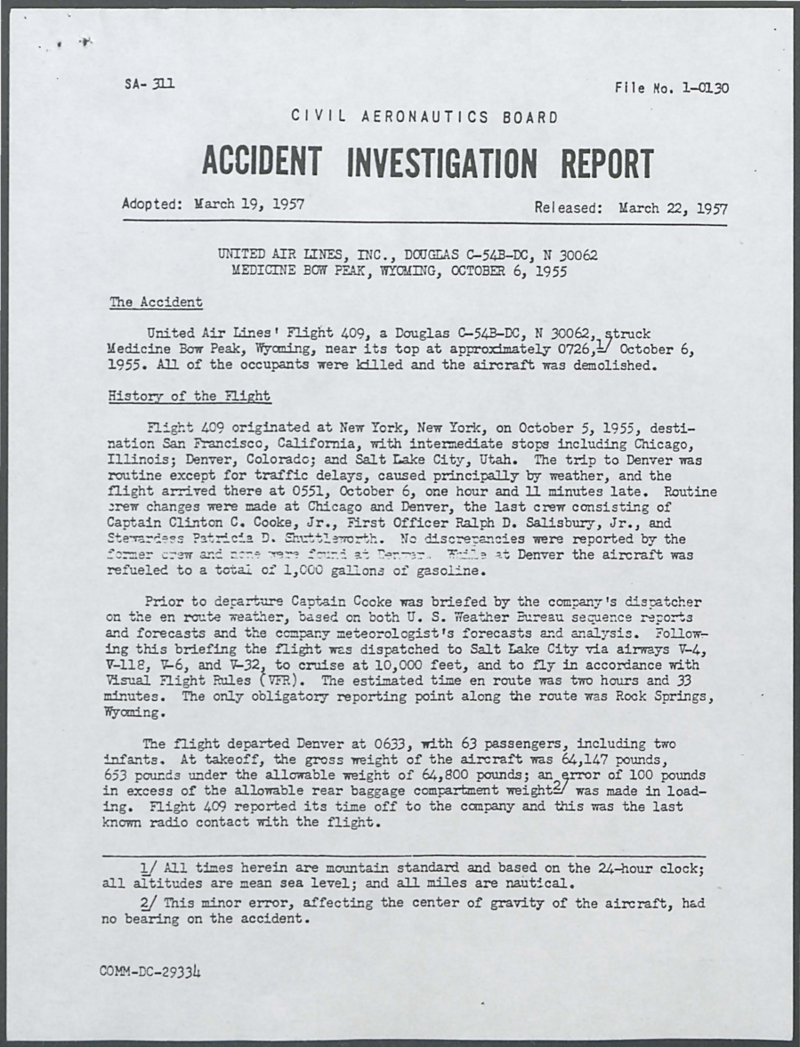 First page of the Civil Aeronautics Board accident investigation report about the crash, 1957. Box 1, United Air Lines Flight 409 Crash collection.