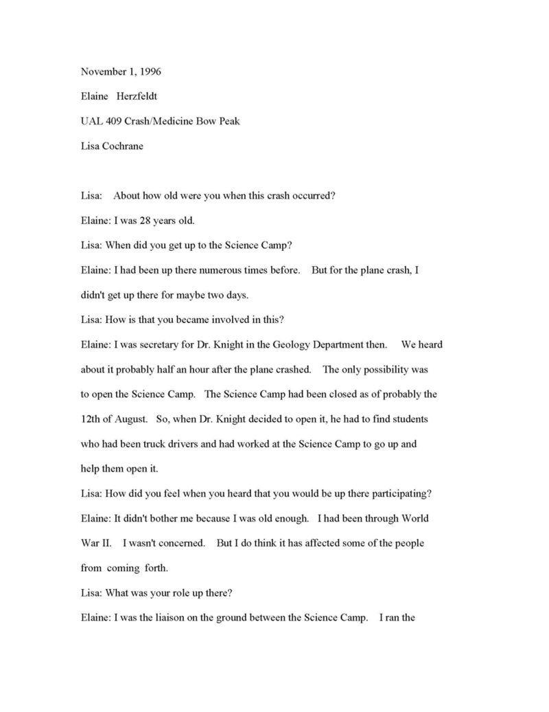Transcript of oral history interview with Elaine Hertzfelt, conducted by Lisa Cochran, 1996. Box 1, United Air Lines Flight 409 Crash collection.