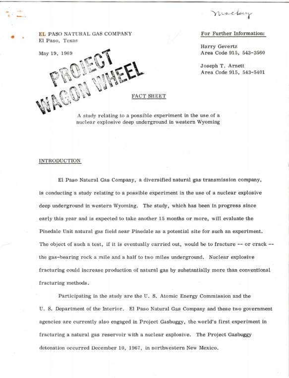First page of a fact sheet about Project Wagon Wheel written by the El Paso Natural Gas Company, the proposers of the Project, 1969. Box 1, Wagon Wheel Information Committee records.