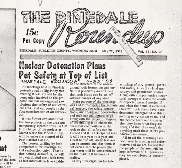 Article in the Pinedale Roundup detailing concerns about the potential negative consequences of Project Wagon Wheel, 1969. Box 1, Wagon Wheel Information Committee records.