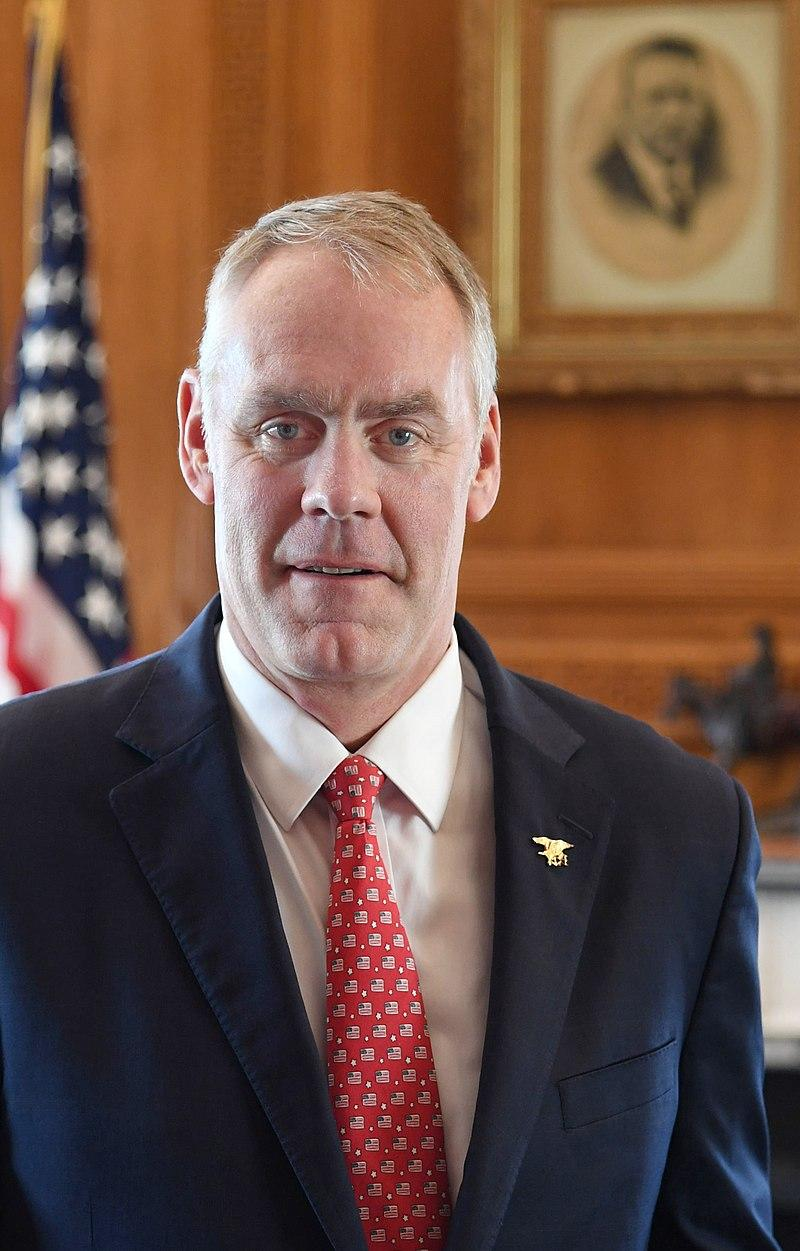Ryan Zinke's official United States Secretary of Interior portrait