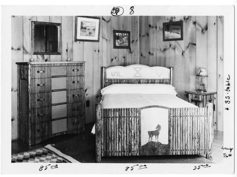 Multiple pieces of furniture made by Thomas Molesworth Credit. Sara Fritjofson circa 1950. McCracken Research Library at the Buffalo Bill Center of the West, MS466 Herbert Schinderman Collection.
