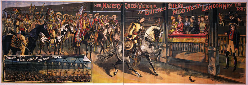 Poster, Her Majesty Queen Victoria at Buffalo Bill's Wild West London, May 11, 1887. Credit: Calhoun Printing Company, 1888. 118 x 337 inches. Mary Jester Allen Acquisition Fund purchase. 1.69.6354