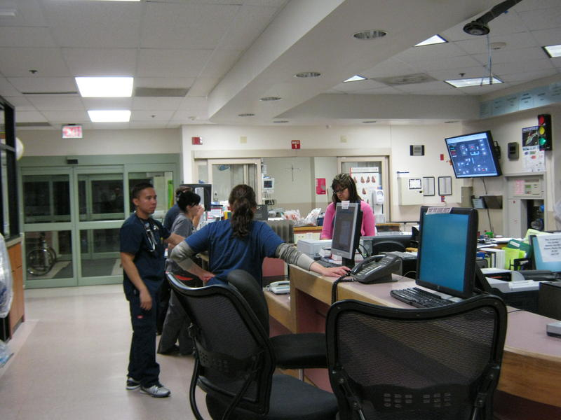 Medical staff congregates in the Cheyenne Regional Medical Center Emergency Room.