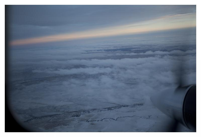 View from the plane used in cloud seeding research.