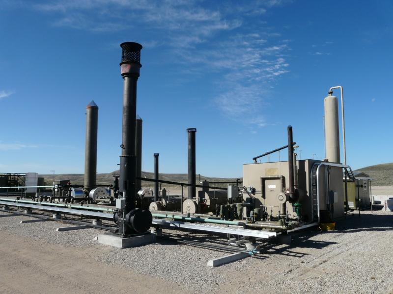 This well pad near Pinedale is outfitted with a variety of green features meant to capture ozone-causing emissions.