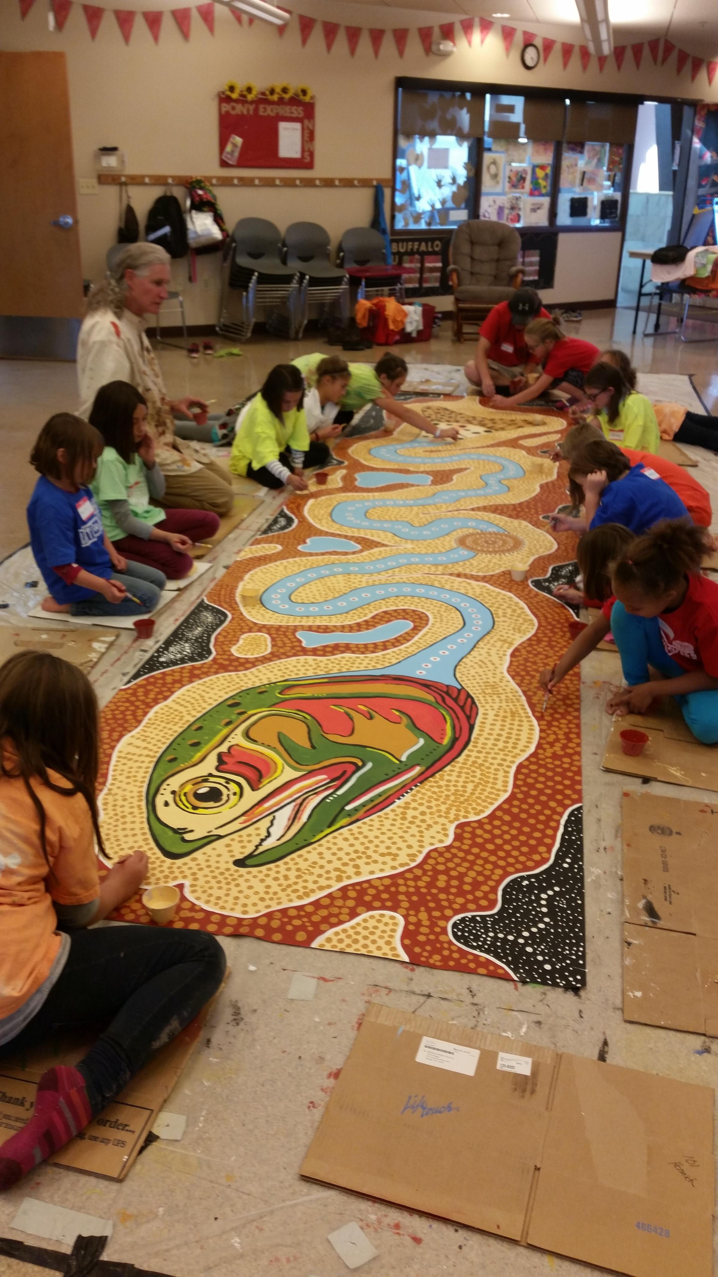New australian style mural in laramie teaches kids to for Australian mural