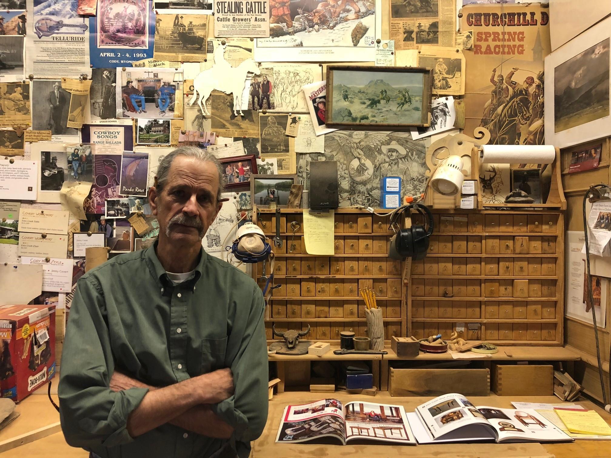 Jimmy Covert in his wood workshop in Cody. Credit: Kamila Kudelska