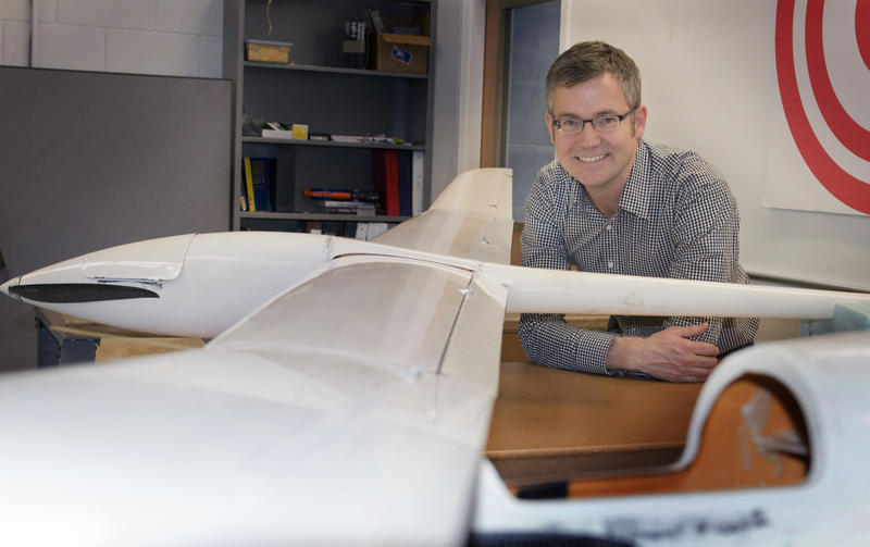 Jack Langelaan and a 'drone' from the AVIA lab.
