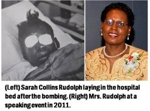 Photo of Sarah Collins in 1963 after the church bombing and Sarah Collins Rudolph in 2011