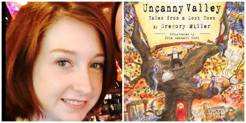 "Reviewer Erin Cassidy Hendrick and the cover of ""Uncanny Valley: Tales from a Lost Town"""