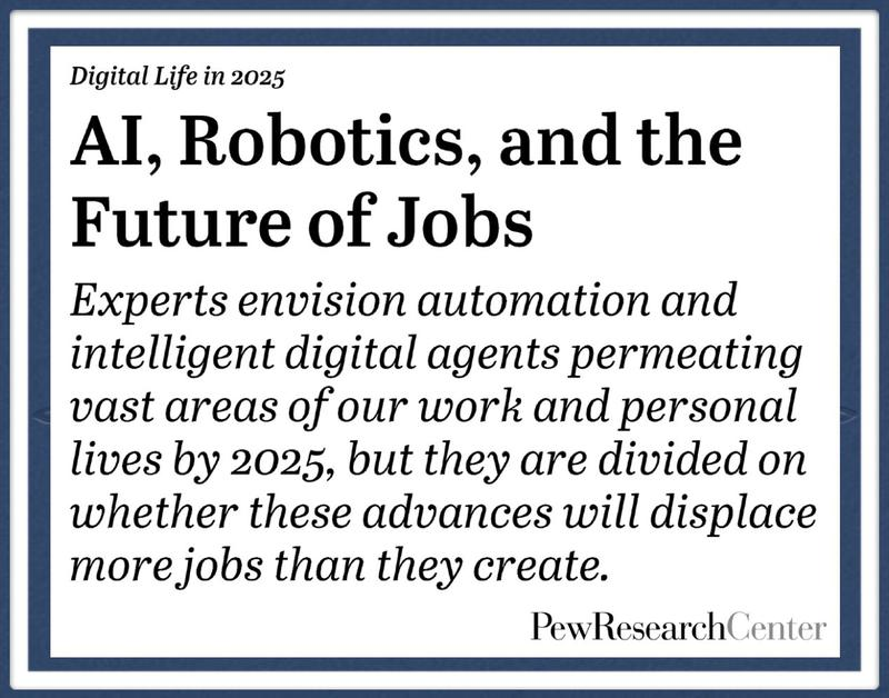 Pew Research graphic about the future of jobs and education