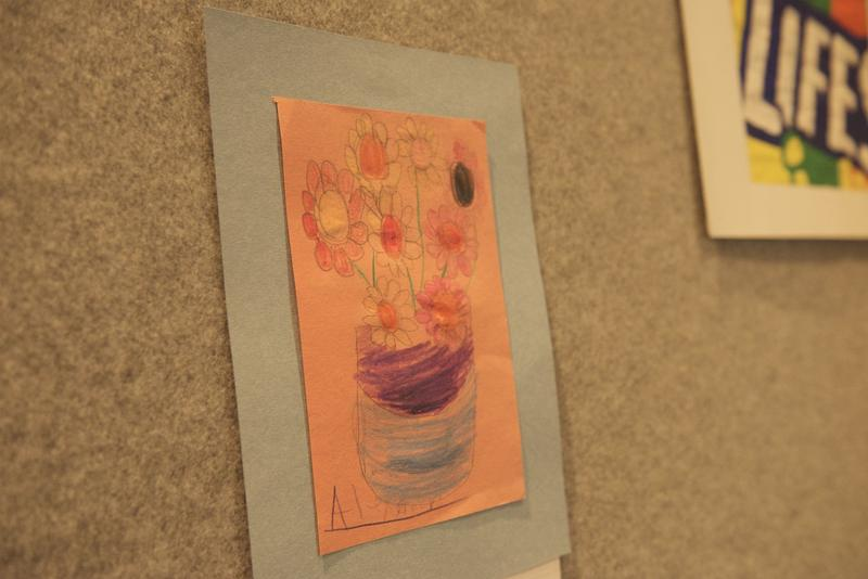 Drawing of flowers at the Art of Expression exhibit.