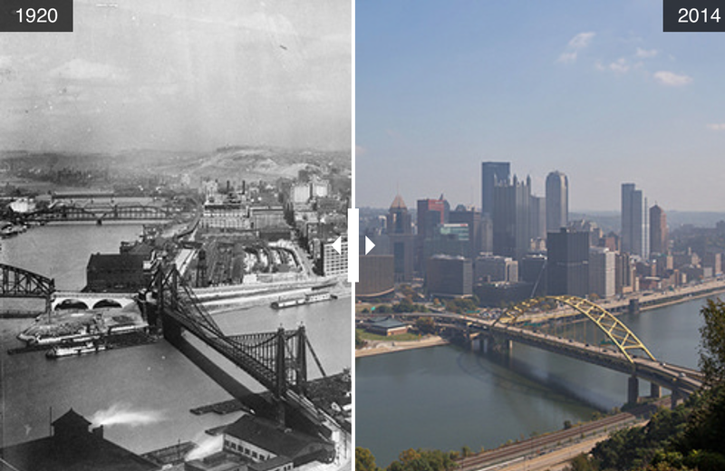Pittsburgh waterfront in 1920 and 2014.