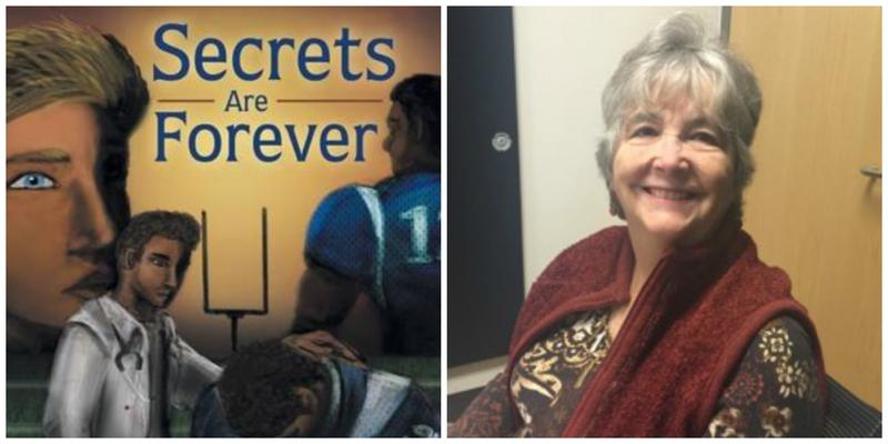 "The cover of ""Secrets are Forever"" and reviewer Maureen Baggett."