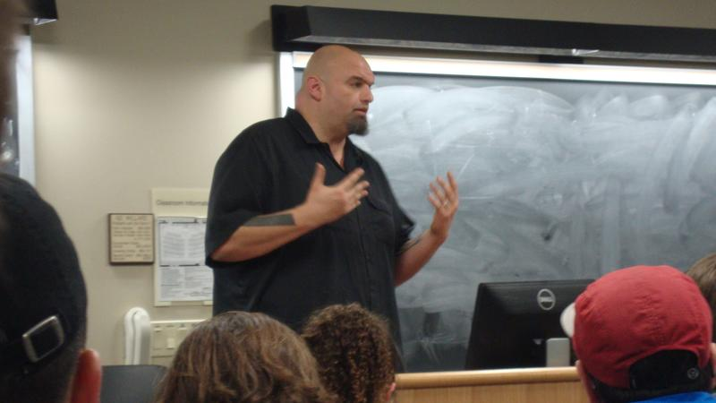 John Fetterman speaks to the Penn State Democrats on February 1st, 2016.