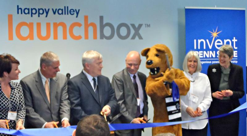 Deputy Secretary of the PA Department of Community & Economic Development Sheri Collins, Manager of the Borough of State College Tom Fountaine, Penn State President Eric Barron, Penn State Vice President for Research Neil Sharkey, the Nittany Lion mascot,