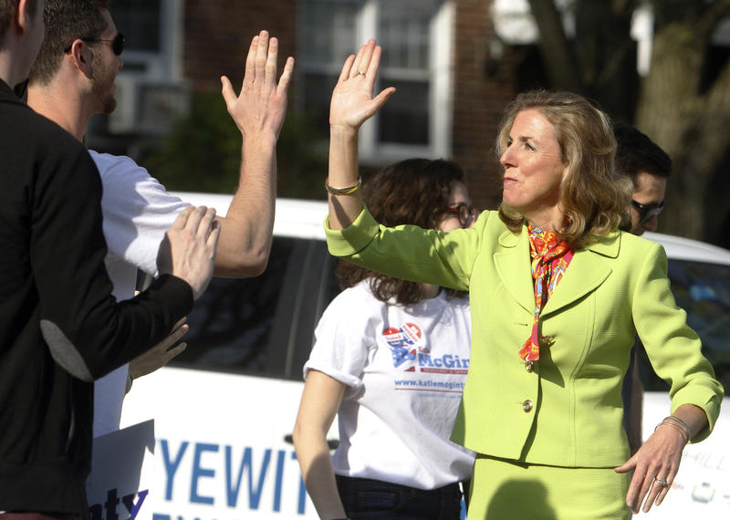 McGinty high-fiving supporter