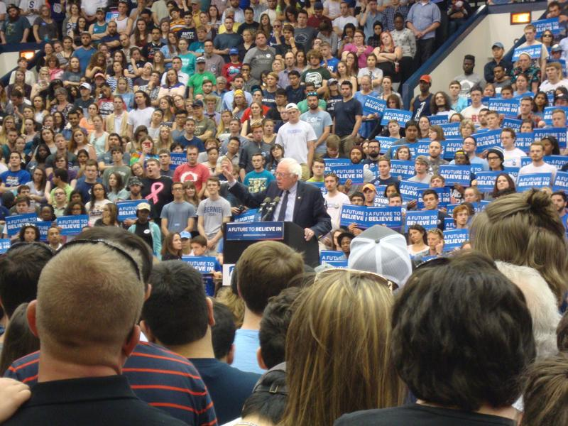 Democratic Presidential hopeful Bernie Sanders speaks at Rec Hall on Penn State University Park's campus.