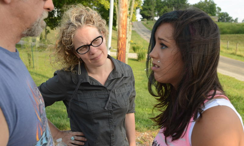 """Filmmaker Pearl Gluck works with actors Pearl Regina Westerviller and James Gagne, Jr. on location for her new film, """"The Turn Out."""""""