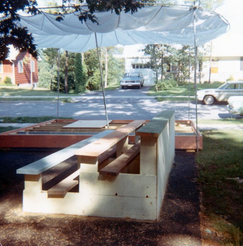 Bleachers and booths for the festival were constructed in the Lloyd's driveway.