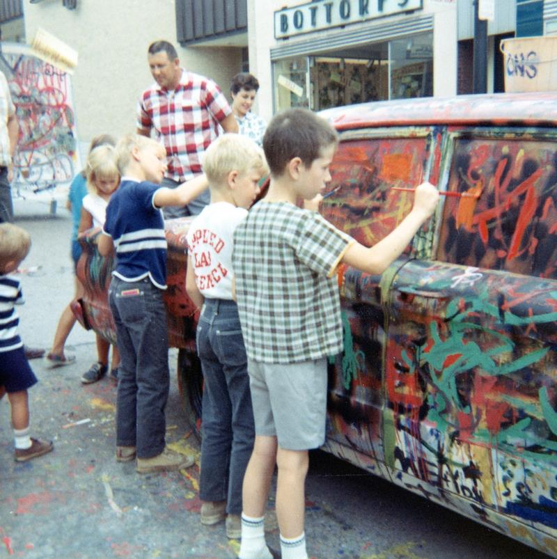 Kids painting an old car at Arts Festival 1967.