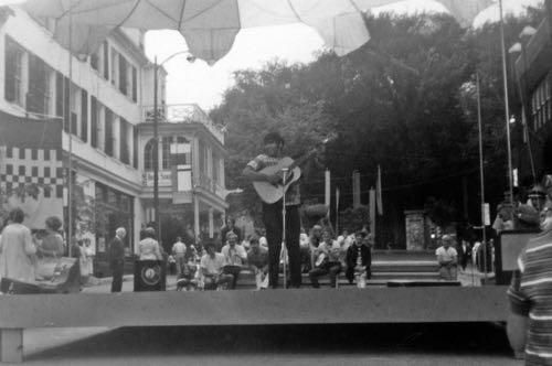 A performer on the Allen Street Stage, 1967.