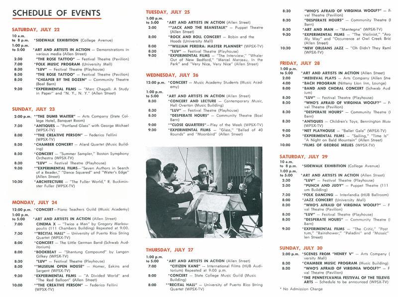 1967 Arts Festival Program, page 2