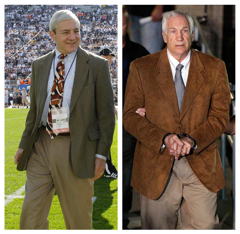 In this photo combo, at left, in an Oct. 8, 2011 file photo, Penn State president Graham Spanier walks on the field before an NCAA college football game in State College, Pa. At right, former Penn State University assistant football coach Jerry Sandusky l