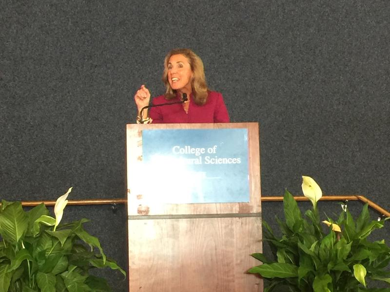 Democratic candidate for U.S. Senate Katie McGinty addresses the crowd at Penn State's Ag Progress Days on August 17, 2016.