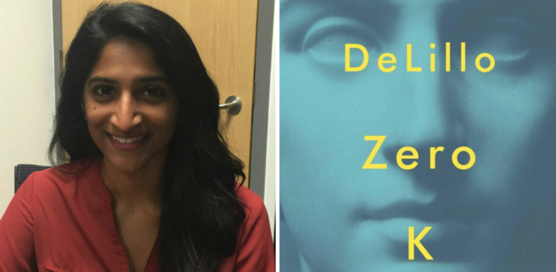 "Reviewer Ruth Canagarajah and the cover of ""Zero K."""