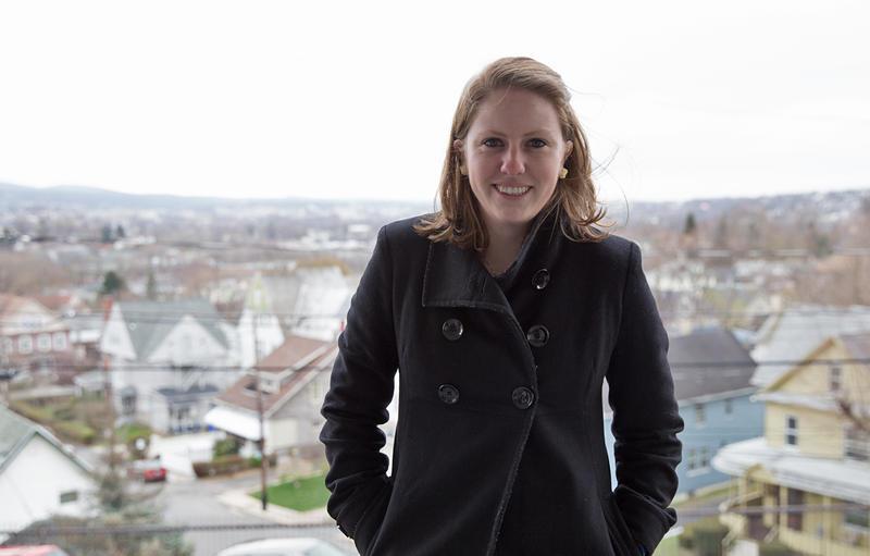 Eleanor Klibanoff in front of the city of Scranton.