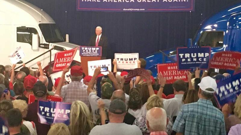 Mike Pence in front of crowd