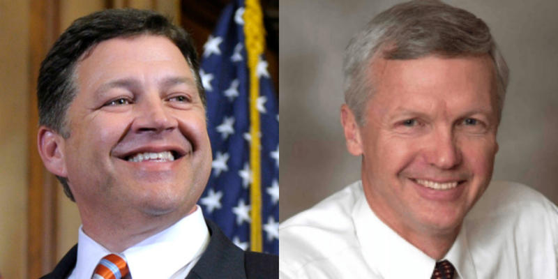 Rep. Bill Shuster (R-Pa, left) said he won't run for re-election this November. Art Halvorson announced his bid for Shuster's post hours later on Tuesday.