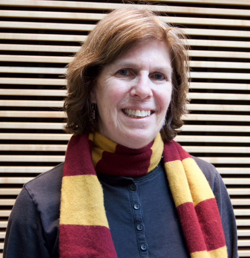 Helen Dempsey in red and yellow scarf