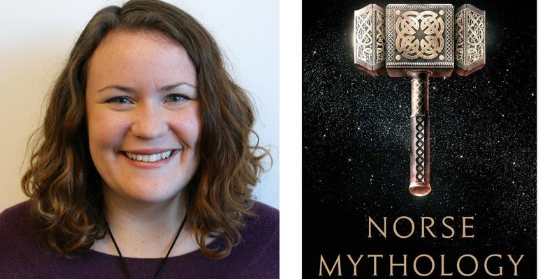 "Photos of Emily Reddy and the ""Norse Mythology"" book cover."