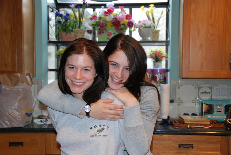 Essayist Becky Perlow (right) and her brother's girlfriend, Kristen.