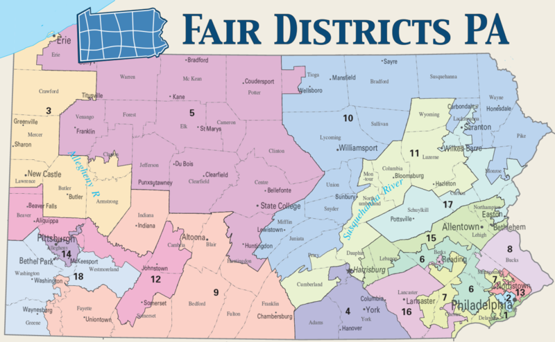 Map of Pennsylvania's current U.S. Congressional Districts