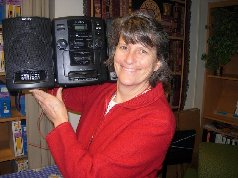 Virginia Squier with her old school boombox