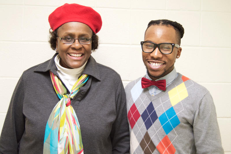Professor Ramona Broomer and Lock Haven University student Marcus Bonaparte.