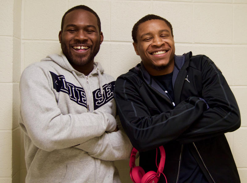 Lock Haven University students Lamin Fulton and Mike Lynch.