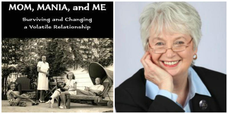 """Mom, Mania, and Me"" book cover and photo of Cheryl Bazzoui"