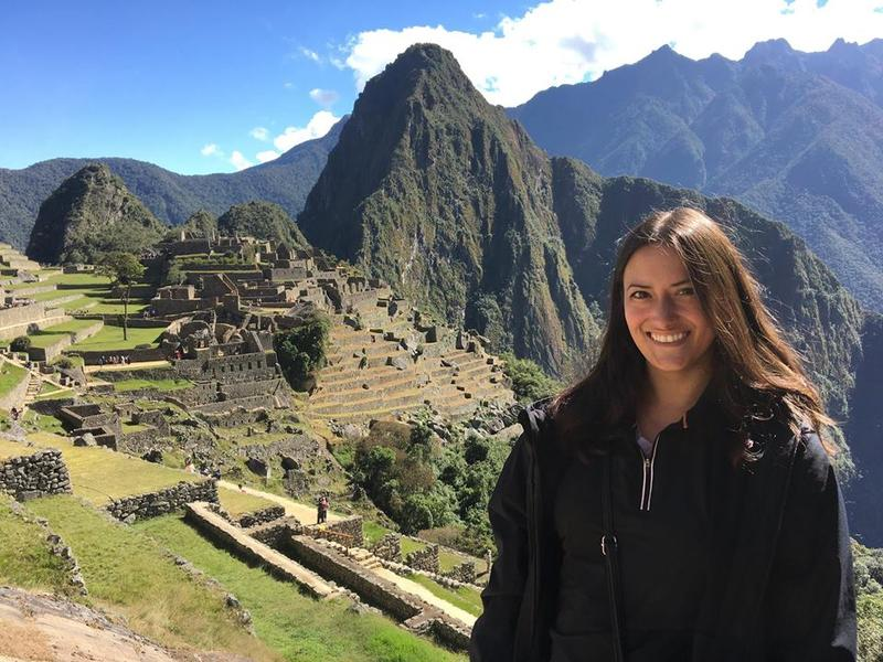 Essayist Adison Godfrey at Machu Picchu in Peru.