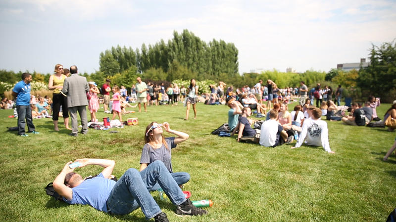 Eclipse viewers at the Arboretum lawn
