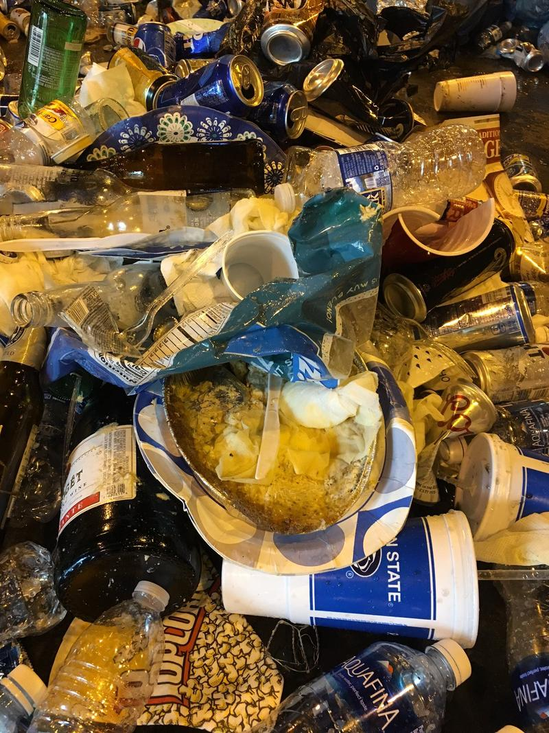 Image showing paper plates, chip bags, and other trash among recyclable glass and plastic bottles