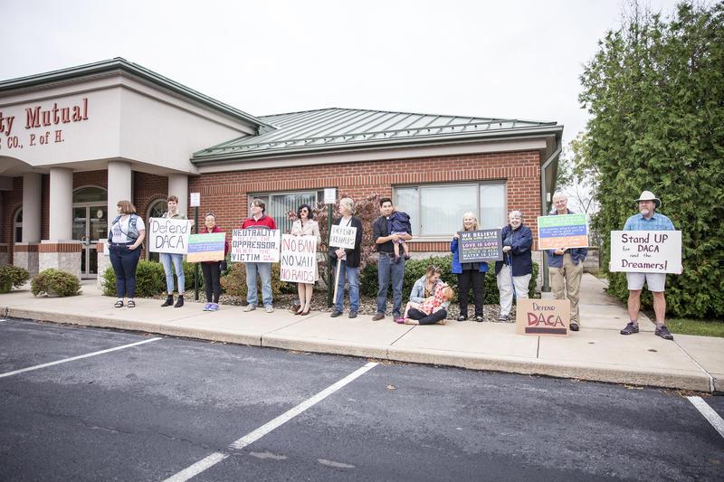 Protestors outside Thompson's office