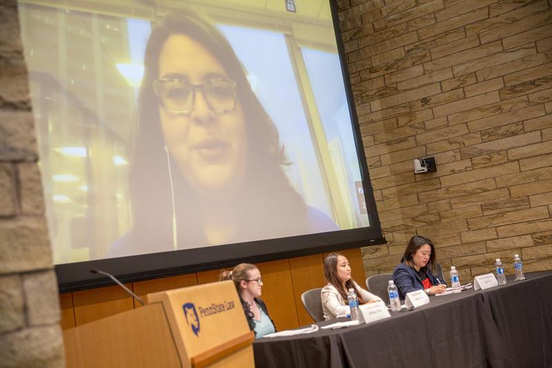 Lorella Praeli spoke to the crowd via video conference call
